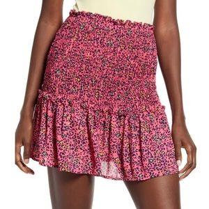 God Luck Gem Smocked Waist Mini Skirt Pink